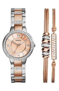 Free shipping and returns on Fossil 'Riley' Crystal Accent Bracelet Watch & Bracelets Set at Nordstrom.com. A flirty two-tone watch catches the eye with sparkling crystals on the dial, round case and slender bracelet. Coordinating bracelets provide a no-hassle stacked-wrist look.