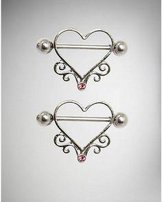 CZ Open Heart Nipple Shields - 14 Gauge - Exclusively at Spencer's Includes: 2 nipple shields Piercing T Scarf Jewelry, Cute Jewelry, Body Jewelry, Beaded Jewelry, Jewlery, Jewelry Box, Body Peircings, Different Ear Piercings, Nipple Rings