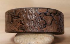 Unique Leather Cuff-Brown Antiqued Color-Hand by LeatherVision