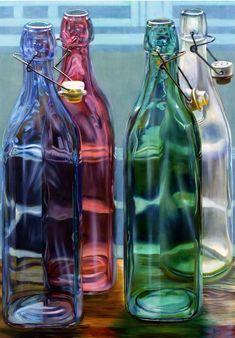 Open Art, Oil On Canvas, Bottle, Tableware, Home Decor, Dinnerware, Decoration Home, Room Decor, Flask