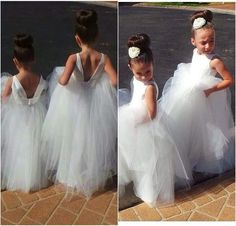Pretty White Tulle Open Back Lace Appliques Flower Girl Dresses 2015 Hot Sale Vestido De Daminha Pageant Dresses for Little Girls Party Gown Online with $111.84/Piece on Cc_bridal's Store | DHgate.com