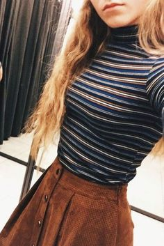 top turtleneck striped top skirt suede skirt trendy brown vintage hipster shirt striped shirt high neck button up skirt brown skirt mini skirt fall outfits fall sweater sweater navy stripes tan clothes indie