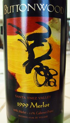 1999 Buttonwood Santa Ynez Valley Merlot Santa Ynez Valley, Santa Barbara County, Wines, Growing Up, Glass, Drinkware, Corning Glass, Yuri, Tumbler