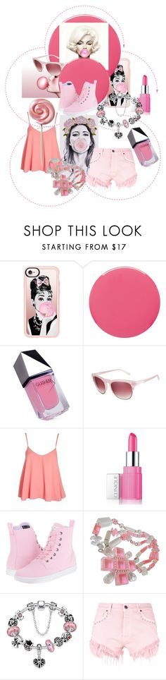 """""""Bubblegum Pink!"""" by lheijl ❤ liked on Polyvore featuring Casetify, Smith & Cult, GUiSHEM, Love, Topshop, Clinique, Dr. Martens, Chanel and GaÃ«lle Bonheur"""