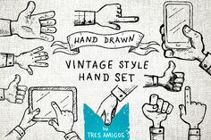 Hand drawn vintage hand set by TresAmigos on Creative Market