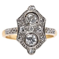 Exceptional Edwardian Diamond Gold Platinum Navette Engagement Ring