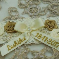Style 1101 - Garter in ivory lace and flower detail - Personalised. Lace Garter, Garter Set, Satin Flowers, Wedding Garter, Ivory, Detail, Style, Fashion, Swag