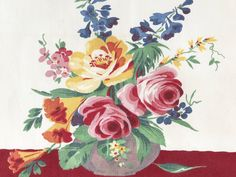 Vintage Dish Towel Wilendur Flower Arrangement Pink Roses Blue Delphinium by NeatoKeen on Etsy