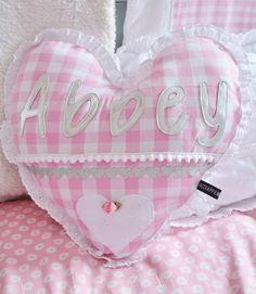 Geboortekussen - Hart kussen - roze - zilver - brocant - met naam - broderie