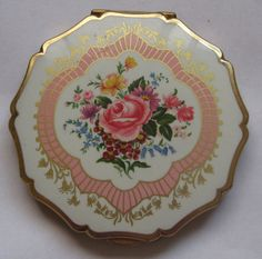Vintage compact mirror goldtrimmed  by ExperiencedFindings on Etsy, $30.00