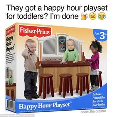 Fake 'happy hour playset' featuring three toddlers DRINKING at a bar counter draws outrage online  Read more: http://www.dailymail.co.uk/news/article-4017284/Fake-happy-hour-playset-draws-outrage-online.html#ixzz4SSk1Vg9w  Follow us: @MailOnline on Twitter | DailyMail on Facebook