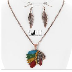 New Western Cowgirl Indian Chief Head Bling Women's Necklace Earring Set F | eBay