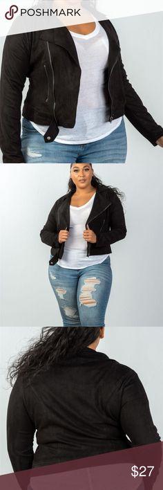 5410fa5fced Ladies plus size asymmetric zippered faux jacket Ladies fashion plus size  asymmetric zippered faux suede jacket