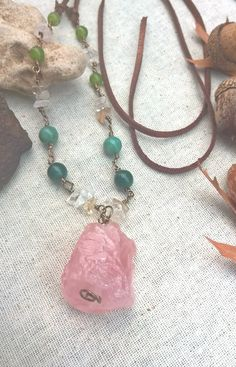 Raw Rose Quartz on a Partial Rosary Style Chain with Green Agate, clear quartz and Aventurine on Vegan Leather, Handmade, OOAK by SaracenProvisions on Etsy