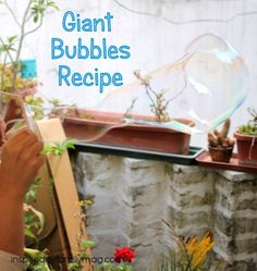 Giant Bubbles Recipe - Our new favorite recipe! You can even turn this fun activity into a learning one by adding a stem challenge to it.