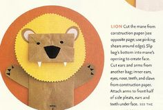Lion puppet with a paper bag