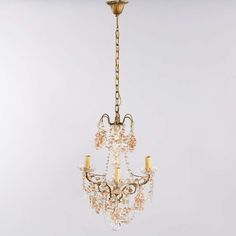 1930s French Crystal Chandelier with Glass Grapes image 2