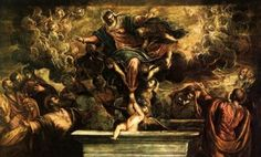 Tintoretto. The Assumption of the Virgin (1594). Oil on canvas, 425 x 587 cm. Scuola Grande di San Rocco, Venice.    I saw this painting in Venice; we went to the Scuola di San Rocco at the recommendation of Dr. G, and were blown away. Tintoretto's style is so furious and bursting and writhing and creepy.    Today is the Feast of the Assumption.  http://lonelypilgrim.com/2012/08/15/the-assumption-of-mary-scriptures-and-texts/    Image source: WikiPaintings.org