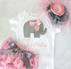 Kutie Tuties - Pink and Gray Elephant Shirt, Headband, Bloomers- name, personalized, baby girl, newborn, toddler, cake smash, birthday, bring home