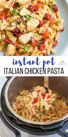 How To Make Tortilla Chips This Instant Pot Italian Chicken Pasta Is An Easy Instant Pot Recipe That Is Loaded With Flavor - No Mushy Pasta In Sight A Simple Sauce Made Of Italian Herbs, Roasted Red Peppers, Spinach And Parmesan. Italian Chicken Pasta, Italian Chicken Recipes, Chicken Pasta Recipes, Easy Pasta Recipes, Recipe Chicken, Instantpot Chicken Recipes, Chicken Noodles, Ranch Pasta, Instant Pot Dinner Recipes
