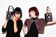 Showing off the Lulu Guinness Box Brownie Camera bag from SS12 collection