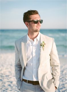 Beach wedding groom attire, beach groom, wedding outfits for gr Beach Wedding Groom Attire, Beach Groom, Wedding Tux, Wedding Film, Summer Beach Wedding Mens Attire, Wedding Beach, Beach Wedding Menswear, Beige Suits Wedding, Wedding Outfits