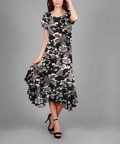 Another great find on #zulily! Black & Gray Floral Midi Dress - Plus #zulilyfinds