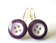 Antique button earrings. 1800s buttons in purple