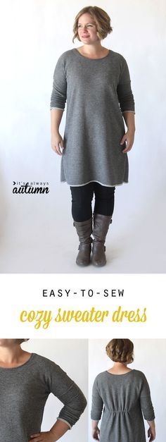 Learn how to sew this cute, easy to make DIY sweater dress or tunic with a free printable pattern and sewing tutorial. Sie Herbstkleid the breezy tee long sleeve sweater dress {free sewing pattern} - It's Always Autumn Sewing Patterns Free, Free Sewing, Clothing Patterns, Pattern Sewing, Free Pattern, Dress Patterns, Tunic Pattern, Pants Pattern, Fabric Patterns
