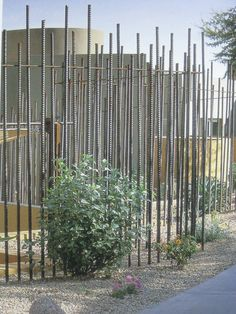 "Fence made from steel reinforcing rods. From ""The room outside"" Fence made from steel reinforcing rods. From ""The room outside"" Deer Fence, Front Yard Fence, Pool Fence, Fence Gate, Railing Design, Fence Design, Garden Design, Wooden Screen Door, Metal Screen"