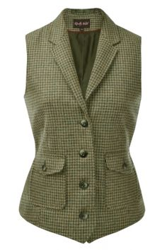 Tweed Fitted Waistcoat in Ivy