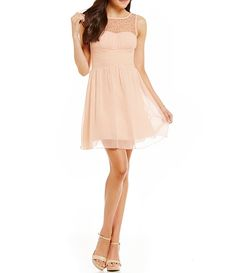 aef76673366 Xtraordinary Faux Pearl Trimmed Illusion Yoke Swing Dress