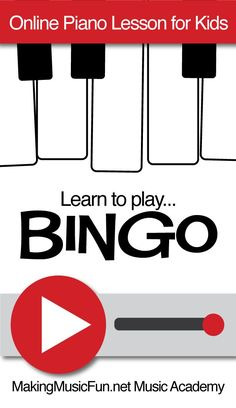 "Learn to play ""Bingo"" with this MakingMusicFun.net Music Academy online piano lesson for kids. Subscribe for unlimited access to the piano lesson library, digital print piano lesson books, and worksheets. Get started for FREE! #makingmusicfun"