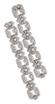 Solid 925 Sterling silver Wedding White Round New Beautiful bracelet Jewelry Cz* Bijoux Art Deco, Art Deco Jewelry, Modern Jewelry, Luxury Jewelry, Vintage Jewelry, Fine Jewelry, Jewellery Box, Bracelet Cartier, Diamond Bracelets
