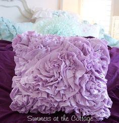 SHABBY LAVENDER RAG ROSES RUFFLES! Love this for Scarlett's room!