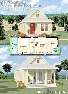 Architectural Designs Tiny House Plan gives you 1 bedrooms, 1 baths and 500 sq. Where do YOU want to build? Small Cottage House Plans, Small Cottage Homes, Small Cottages, Tiny House Cabin, Tiny House Living, Tiny House Design, Small House Plans, Tiny Homes, Small Guest Houses