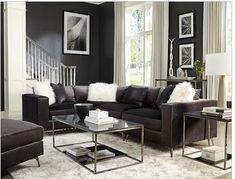 Home Cinema Center: Schwartzman 4 Piece Sectional in Charcoal Velvet . Furniture Companies, Furniture Sale, Charcoal Sectional, Cinema Center, Living Spaces, Living Room, Home Cinemas, Modular Design, Seat Cushions