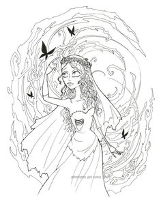 Corpse Bride Lineart Disney Coloring Pages Printables