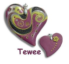 Beautiful Hearts by Tewee...using @Julie Picarello's technique...