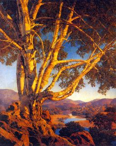 Old White Birch, huile sur panneau de Maxfield Parrish (1870-1966, United States)