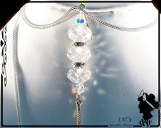 Clear Crystal Bead Pendant Necklace by IVsSpecialtyShoppe on Etsy