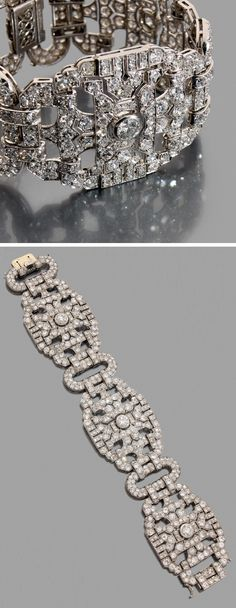 Lacloche Frères - An important Art Deco platinum and diamond bracelet, French, circa 1920. Composed of three large articulated openwork motifs, pavé-set with brilliant-cut and round diamonds, with each segment centring a larger diamond, joined by oval links, mounted in platinum. Signed LACLOCHE Fr., and numbered. #Lacloche #ArtDeco #bracelet