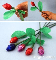 Rolo Kisses and Paper flower wishes, these little treats are a sweet find on sophie-world.com #flower #edible #craft #DIY
