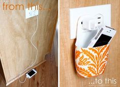 DIY: Holder for Charging Cell Phone (made from lotion bottle) ~ THIS is a fabulous idea! The thin plastic lotion bottle will protect and keep the cord organized in one spot and perfect for traveling! Teenage Girl Crafts, Do It Yourself Inspiration, Ideas Para Organizar, Cell Phone Holder, Iphone Holder, Smartphone Holder, Do It Yourself Home, Crafty Craft, My New Room
