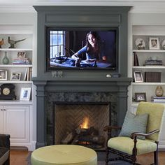 TV Over fireplace design. Tv Over Fireplace Design, Pictures, Remodel, Decor and Ideas Painted Fireplace Mantels, Tv Over Fireplace, Paint Fireplace, Fireplace Surrounds, Fireplace Design, Fireplace Ideas, Brick Fireplace, Mantles, Mantel Ideas