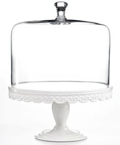 Martha Stewart Collection Serveware, Embossed Cake Stand with Dome | macys.com