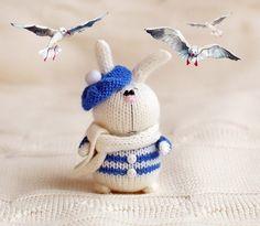 Crochet sailor bunny toy Hand-Knitted bunny toy in a blue beret Amigurumi toy bunny Miniature Art bunny Doll Handmade crochet Easter decor Crochet Animal Amigurumi, Crochet Animal Patterns, Amigurumi Doll, Amigurumi Patterns, Knitted Stuffed Animals, Knitted Bunnies, Knitted Cat, Easter Crochet, Crochet Bunny