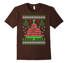 Men's THE TREE ISN'T ONLY THING GETTING LIT This Christmas T-shirt 2XL Brown