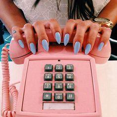 Retro Light Blue Pointed Nails