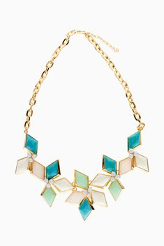 Aqua-Mint-Grey-Diamond-Shaped-Jewel-Statement-Necklace/Earring-Set